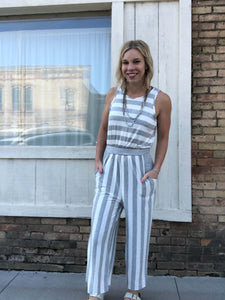 Cropped Grey Stripe Romper