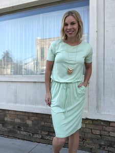 Seafoam green elastic waist dress