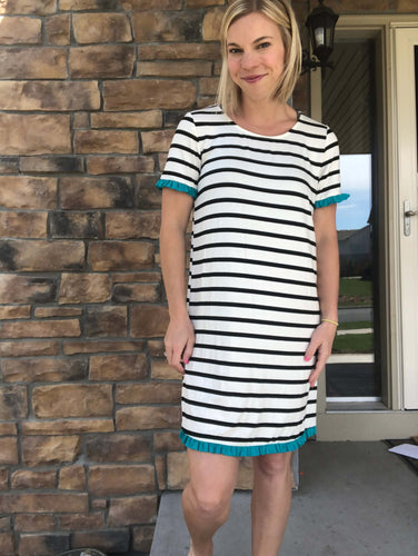 Black stripe with teal ruffle dress