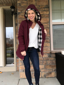 Maroon Jacket with plaid lining
