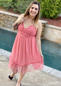 Tooling in Floral All in One Dress in Coral