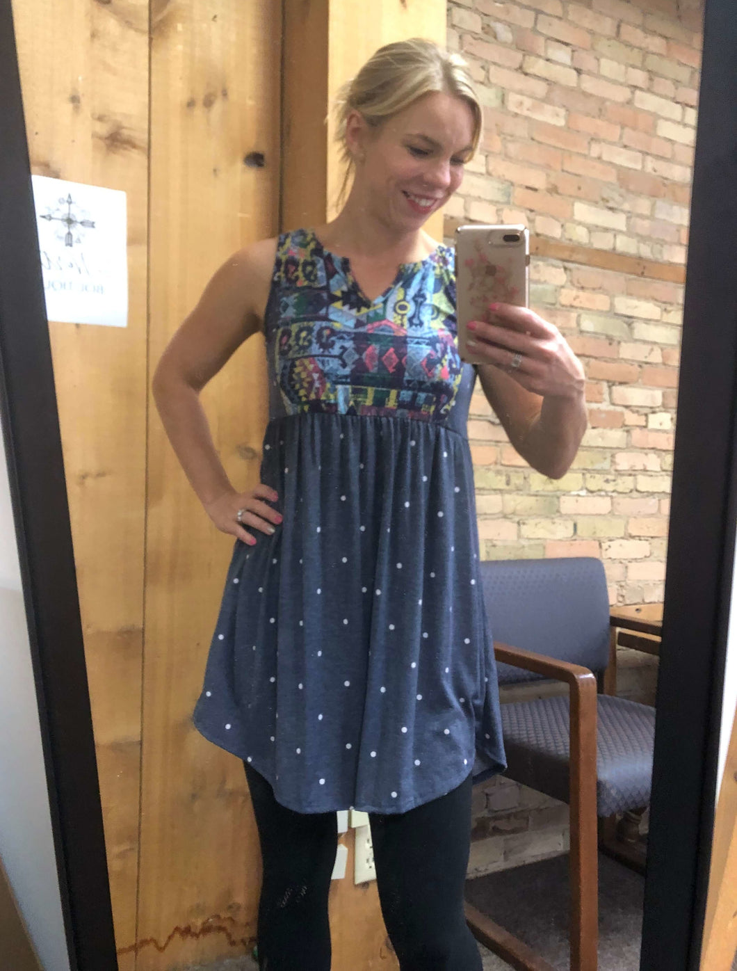 Polkadot sleeveless tunic