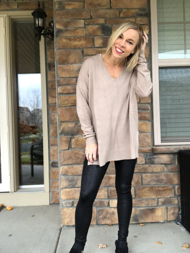Ash Mocha Center Seam Sweater