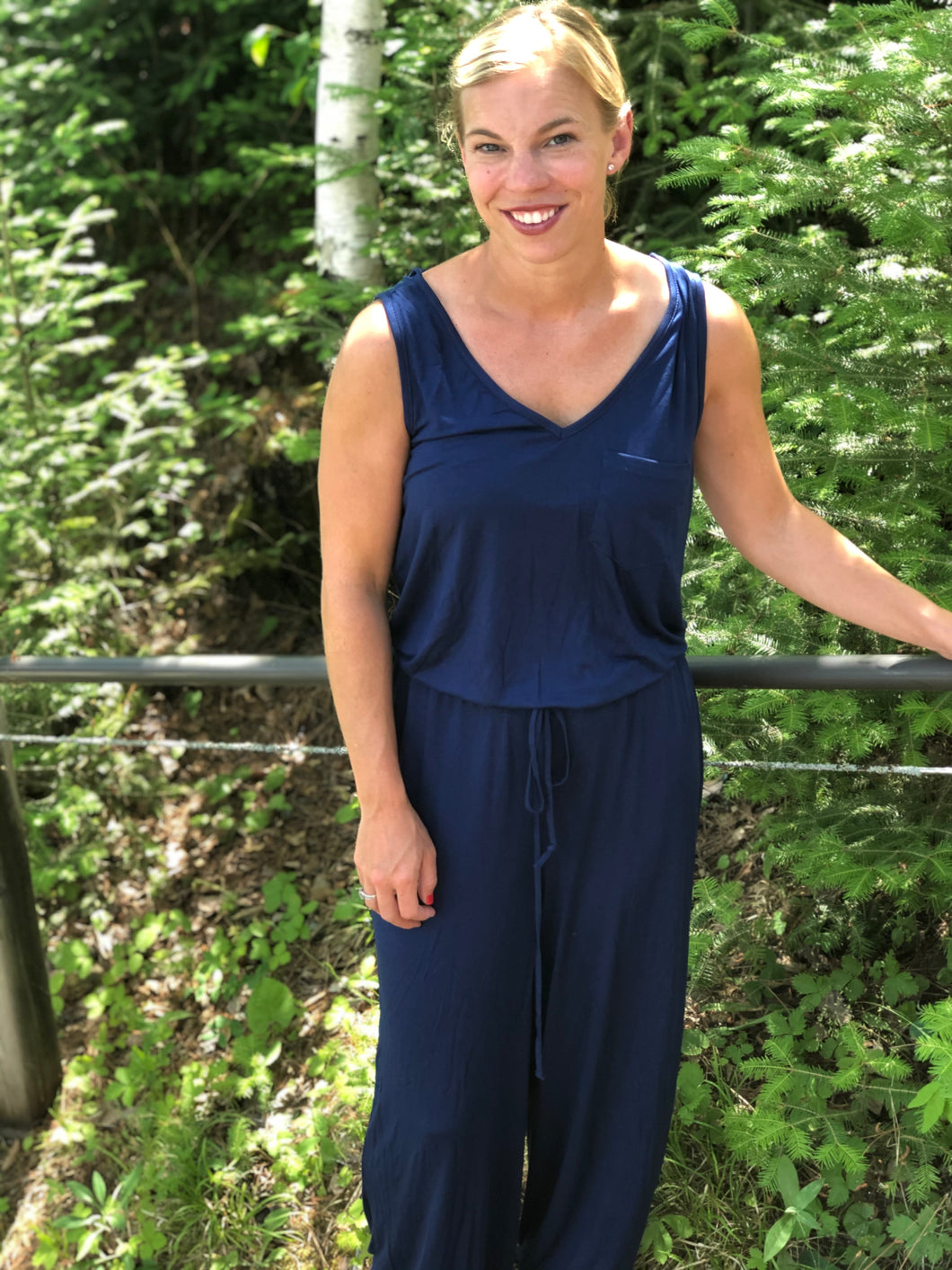 Navy tank jumpsuit