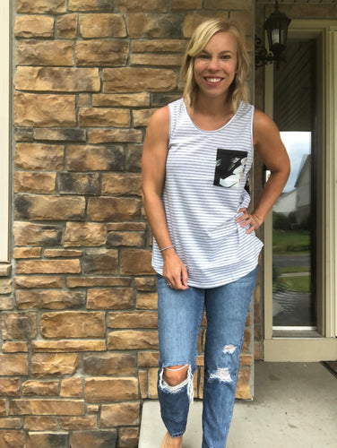 grey stripe tank with floral tank