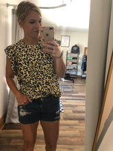 Load image into Gallery viewer, Leopard Tank with ruffle sleeve