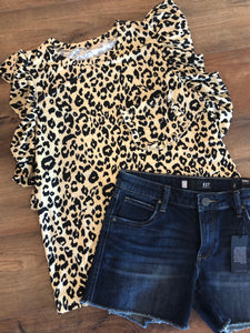 Leopard Tank with ruffle sleeve
