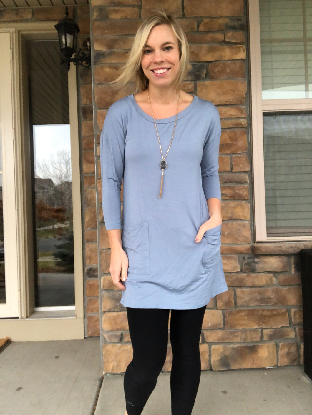 Back button slate blue tunic