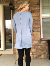 Load image into Gallery viewer, Back button slate blue tunic
