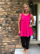Load image into Gallery viewer, Hot Pink Ruffle Tank