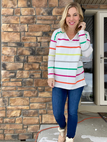 Bright Stripe V neck sweater