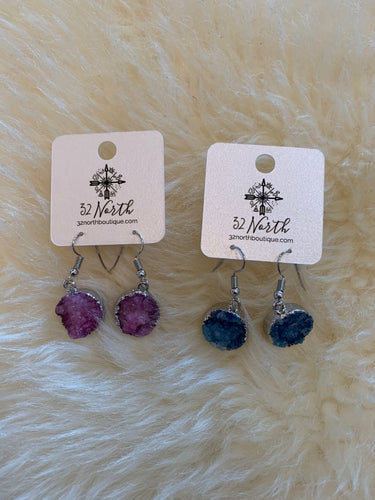Druzy dangly earring