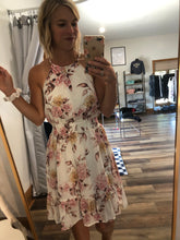 Load image into Gallery viewer, White Floral halter dress