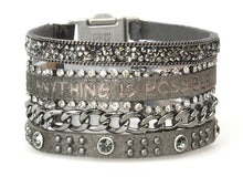 "Load image into Gallery viewer, 'Good Works"" Inspirational Metal clasp bracelet"