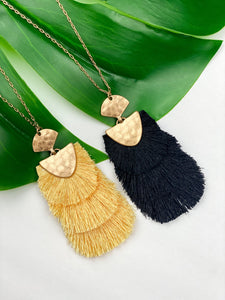 Tiered Fringe Pendant Necklace