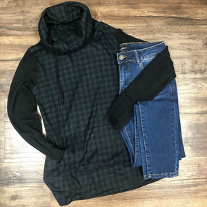 Green and Black Check funnel neck