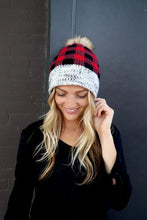 Load image into Gallery viewer, Plaid fleece lined Pom Hats