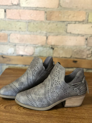 Grey laser cut ankle boots