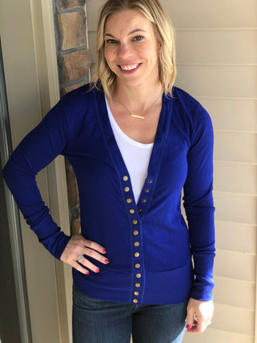 Royal Blue Snap Cardigan