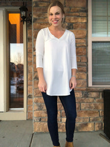 White V neck long sleeve