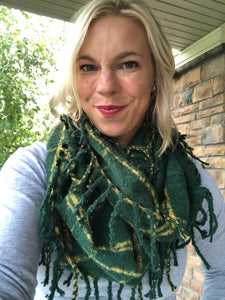 Green and Gold plaid infinity scarf