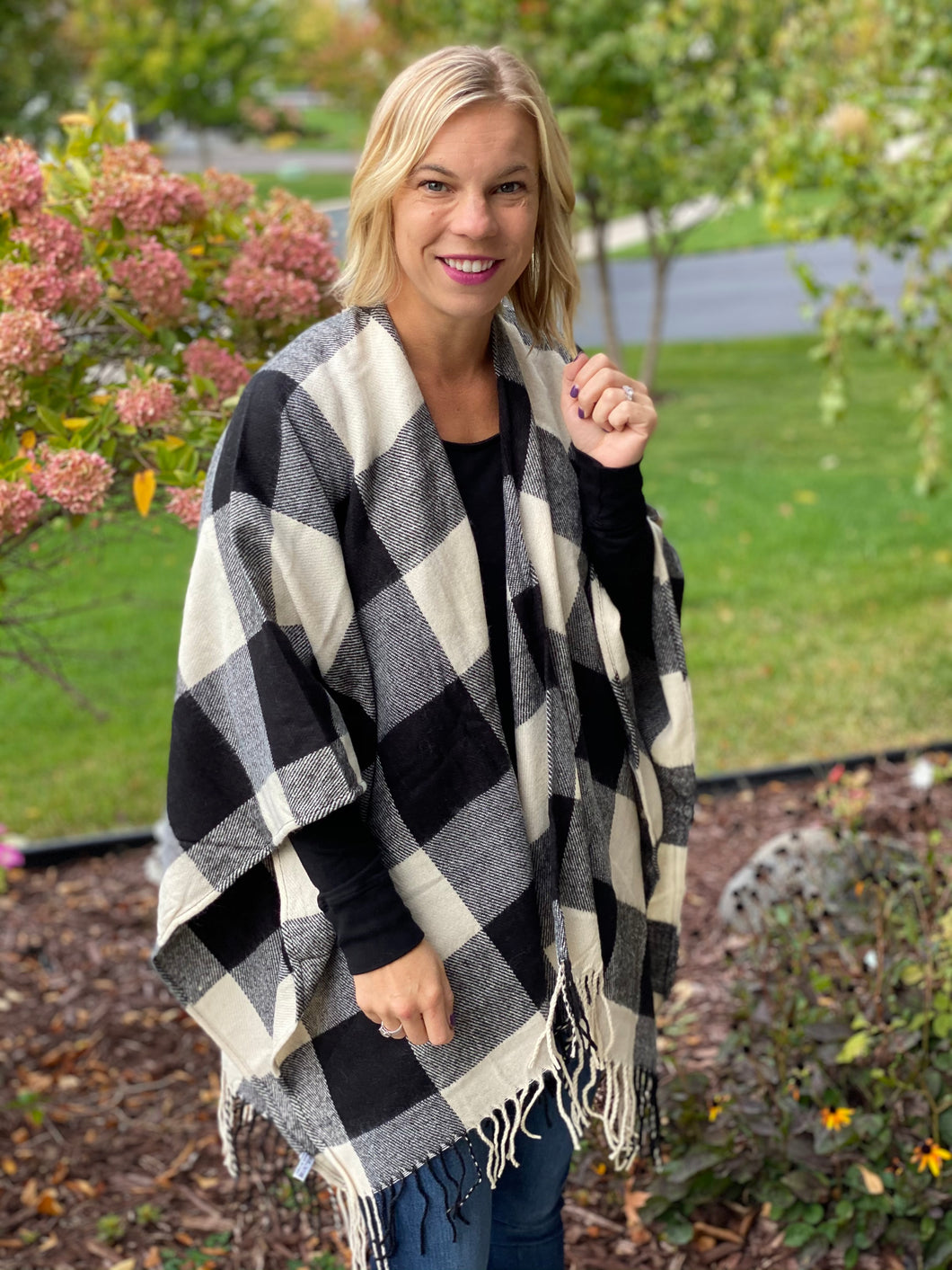 Buffalo plaid cape