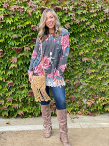 Ruffled in Floral Long Sleeve Pullover