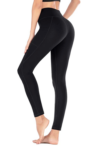 Full length black pocket leggings