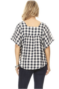 Day at the Park Woven Plaid Top