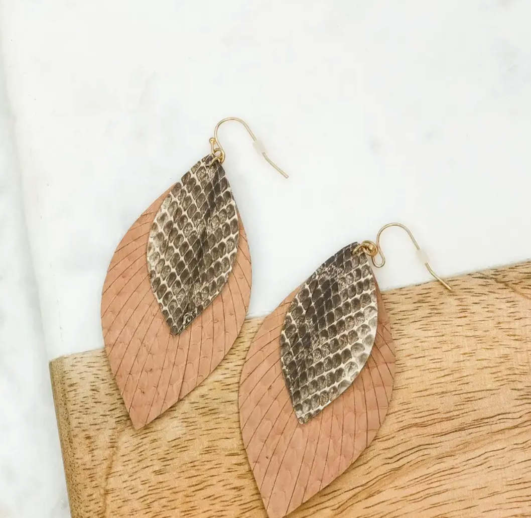 Leather Snakeskin Feather Dangle Earring
