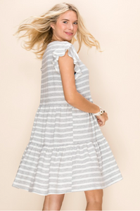 Hazy Striped Babydoll Dress