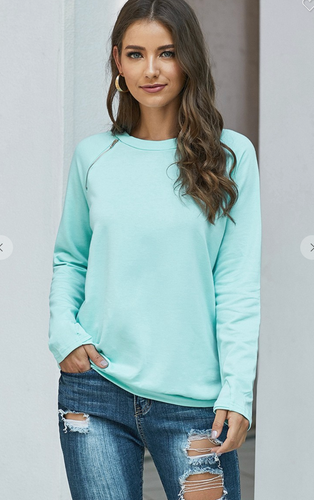 Teal crew neck sweatshirt