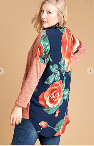 Floral Printed Back Panel Knit Cardigan