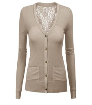 Ivory cardigan with lace back