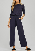 Load image into Gallery viewer, Navy 3/4 sleeve romper