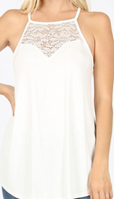 Load image into Gallery viewer, White lace top tank top