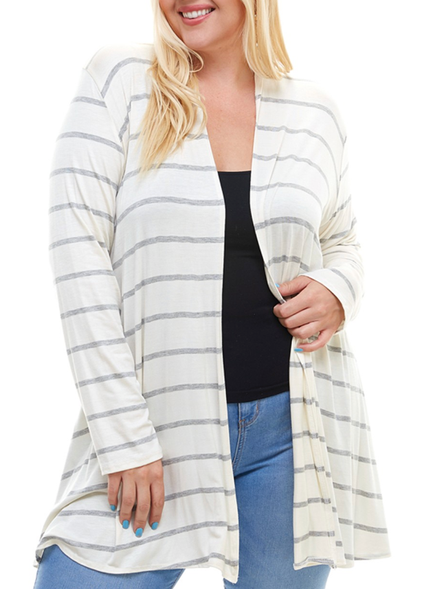 White and Grey Stripe (plus) short cardigan