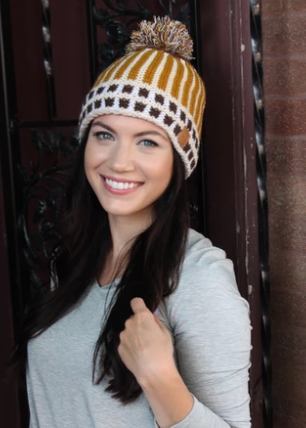 Mustard fleece lined knit hat with pom
