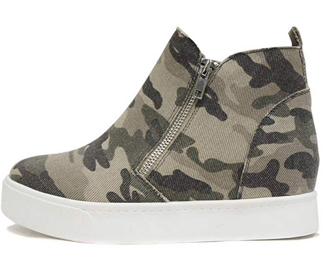 Camo wedge zip up shoe
