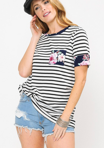 Navy stripe tee with floral detail