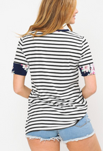 Load image into Gallery viewer, Navy stripe tee with floral detail