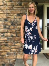 Load image into Gallery viewer, Navy button down midi dress