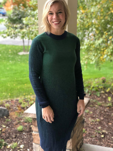 Ombre Green and Navy Sweater Dress