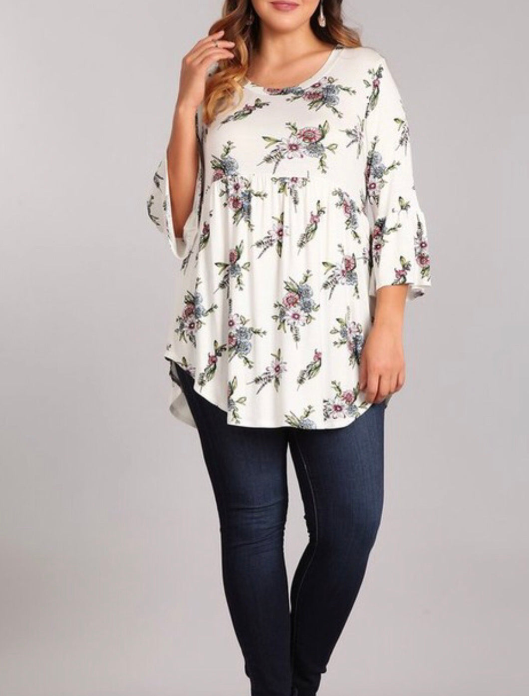 White floral babydoll top