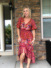 Load image into Gallery viewer, Boho red floral dress