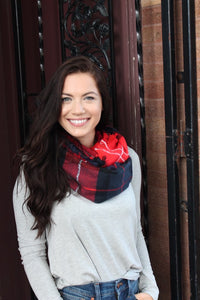 Red navy and black scarf