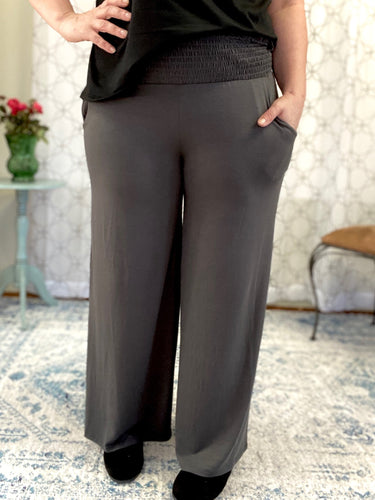 Simply Styled Smocked Waist Lounge Pants in Ash Gray