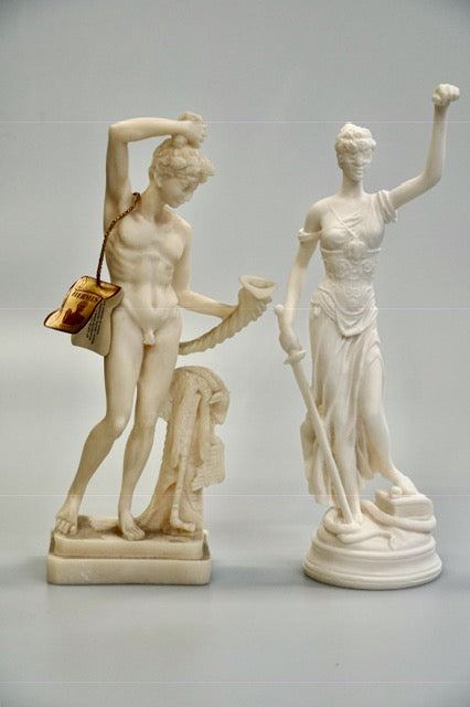 Statues of Greek God Hermes and Goddess Artemis