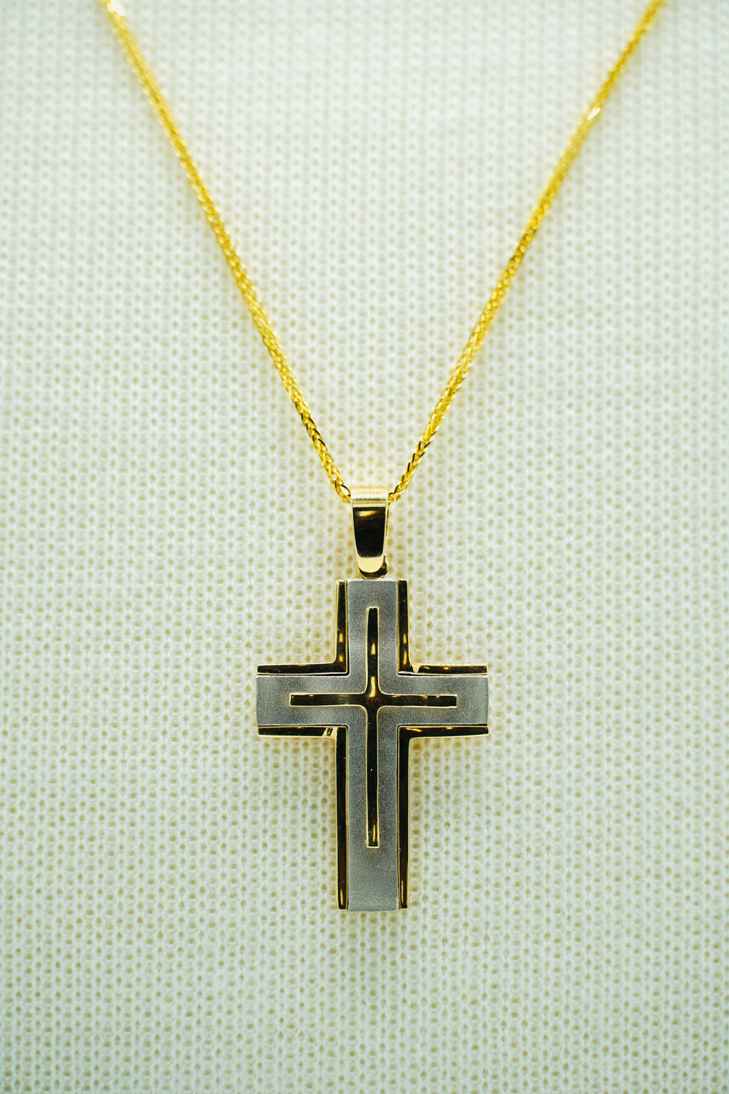 Yellow and White Gold Two Tone Cross