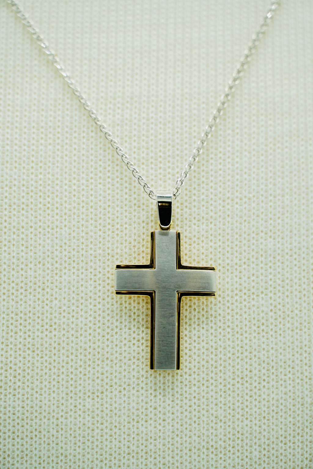 White Gold and Yellow Gold Two Tone Cross